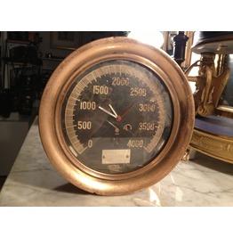 "I Gearz Steampunk Hand Made Brass Steam Pressure Gauge Clock 7 1/2"" Battery Op Antique Vintage"