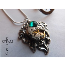 Steampunk Emerald Lily Necklace Steampunk Necklace Lily Pendant Steampunk Jewelry Steamretro
