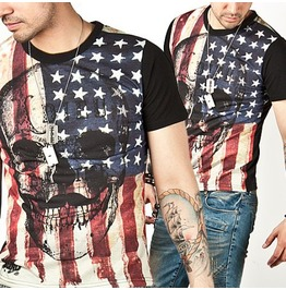 Striking Flag Motive Skull Rock Band Vintage Slim Tee