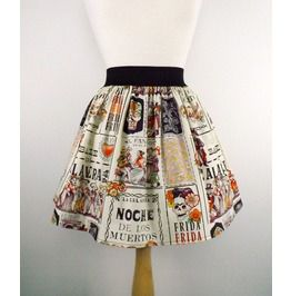 """Lindy"" Frida Kahlo Calaveras Ball Skirt"