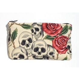 Day Dead / Dia De Los Muertos Skulls Roses Wallet/ Makeup Bag / Coin Purse