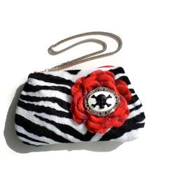 Zebra Cameo Balck Red Wristlet