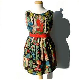 Mexican Frida Kahlo Vintage Inspired Dress / Day Dead Dress / Rockabilly Dress