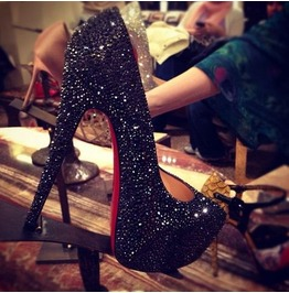Super High Heel Black Crystal Pump Red Soles
