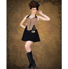Steampunk Neo Victorian Gothic Detective Lorraine 2 Pc Ensemble Dress S1034