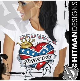 271f9c90351a Va1059 Redneck Princess Tattoo T Shirt