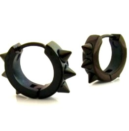 Hardcore! Jet Black Spike Hoop Earrings