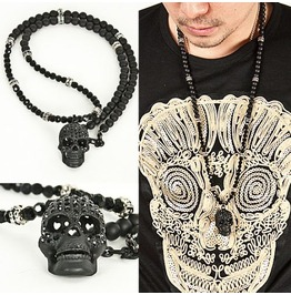 Super Unique Cubic Black Skull Pendant Beads Necklace