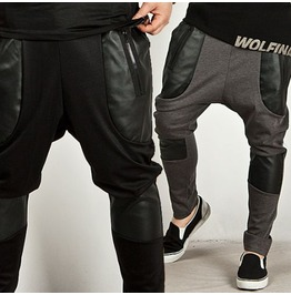 Stylish Leather Accent Baggy Sweatpants (Black)
