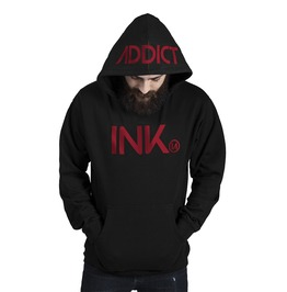 Ink Men's Midwieght Pullover Black Hoodie Red Print