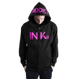 Ink Mens Midweight Zip Black Hoodie Pink Print