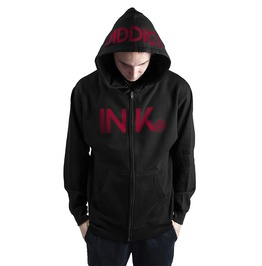 Ink Mens Midweight Zip Black Hoodie Red Print