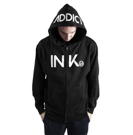 Ink Mens Midweight Zip Black Hoodie White Print