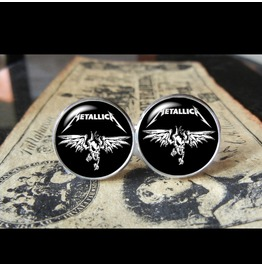 Metallica Band Logo Skull Wings Cuff Links Men, Weddings,Grooms, Groomsmen,Gifts,Dads,Graduations
