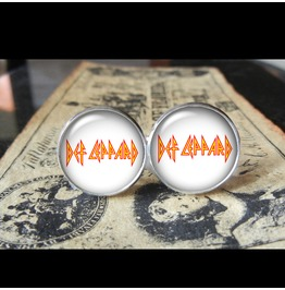 Def Leppard Band Logo (White) Cuff Links Men, Weddings,Grooms, Groomsmen,Gifts,Dads,Graduations