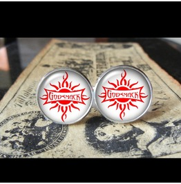 "Godsmack ""Sun"" Band Logo (White/Red) Cuff Links Men, Weddings,Grooms, Groomsmen,Gifts,Dads,Graduations"