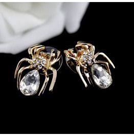 Cute Crystal 18k Gold Plated Spider Earrings