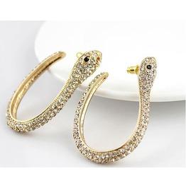 Cute Crystal 18k Gold Plated Dangling Snake Earrings