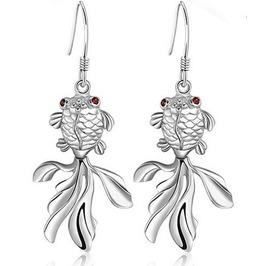 Swimming Fish Crystal 18k Wg Dangling Earrings
