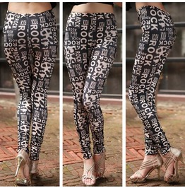Rock Print Tight Leggings