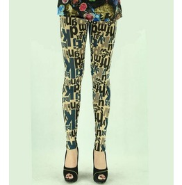 Retro Letters Print Tight Leggings