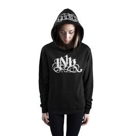 Ink Meas Womens Lightweight Pullover Hoodie Black/White