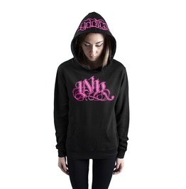 Ink Meas Women's Lightweight Pullover Hoodie Black/Pink