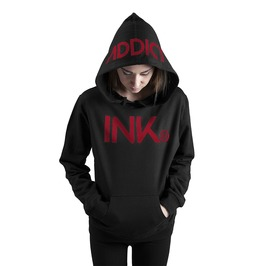 Ink Women's Lightweight Pullover Hoodie Black Red
