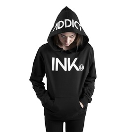 Ink Women's Lightweight Pullover Hoodie Black White