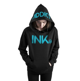 Ink Women's Lightweight Pullover Hoodie Black Turquoise