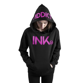 Ink Women's Lightweight Pullover Hoodie Black Pink