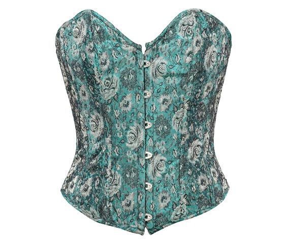green_floral_jacquard_fabric_steel_boning_corset_waist_cincher_bustier_bustiers_and_corsets_5.jpg