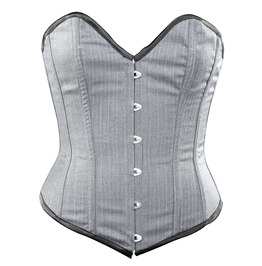 Grey Striped Corporate Steel Boning Overbust Corset Waist Cincher C1294 60
