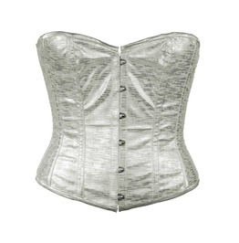 Silver Faux Leather Steel Boning Overbust Corset Waist Cincher C1295 8