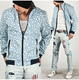 Bright Sky Blue Funky Skull Printed Zip Jersey Jacket