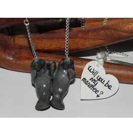 Pair Manatees Holding Flippers Necklace