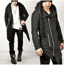 Striking Asymmetric Assassin Creed Thick Rope Strap Accent Long Zip Hoodie