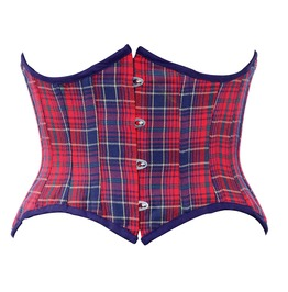 Red & Blue Check Steel Boning Underbust Corset Waist Cincher C1296 50
