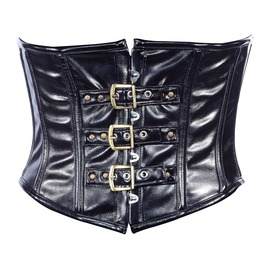 Black Faux Leather Steel Boning Underbust Corset Waist Cincher C1297 3