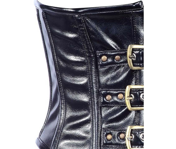 black_faux_leather_fabric_steel_boning_underbust_corset_waist_cincher_bustier_bustiers_and_corsets_2.jpg