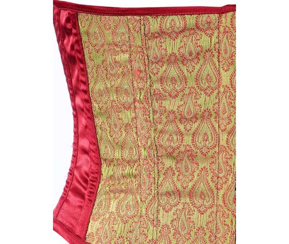maroon_brocade_fabric_steel_boning_underbust_corset_waist_cincher_bustier_bustiers_and_corsets_2.jpg