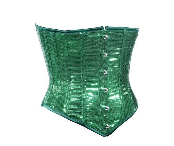 green_sequin_fabric_steel_boning_underbust_corset_waist_cincher_bustier_bustiers_and_corsets_4.jpg