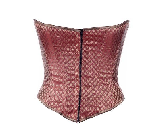 maroon_ethnic_brocade_fabric_steel_boning_underbust_corset_waist_cincher_bustier_bustiers_and_corsets_5.jpg
