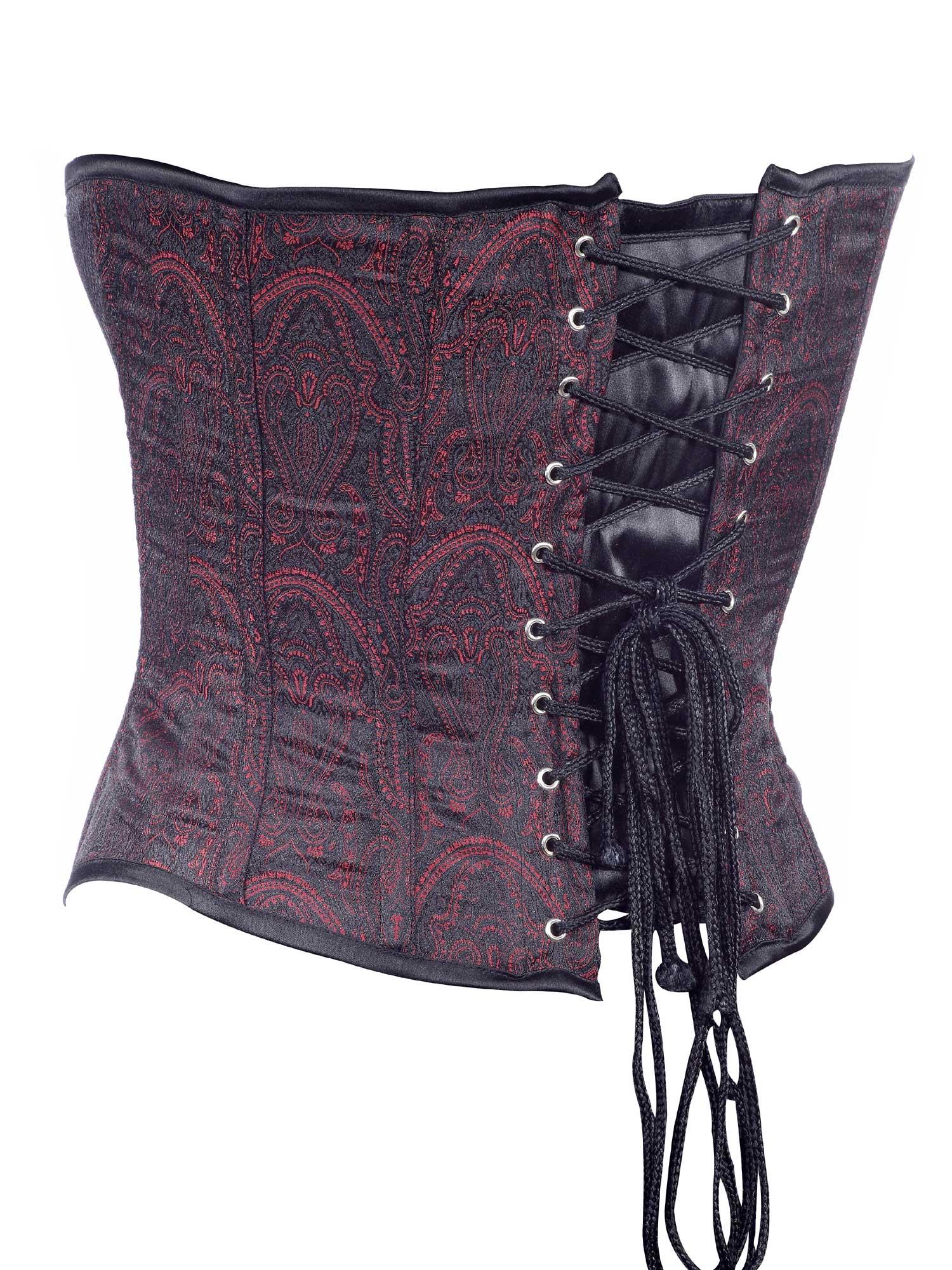 brown_jacquard_fabric_steel_boning_underbust_corset_waist_cincher_bustier_bustiers_and_corsets_3.jpg