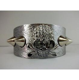 Gothic Spike Rhinestone Skull Cross Bones Bracelet 22487