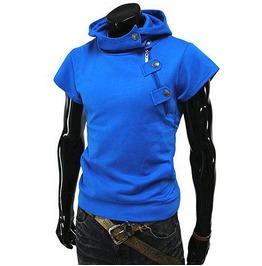 Blue Short Sleeve Shirt T Shirt Tee Men Sport Mens Hoodies