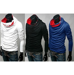 Blue / White / Black Mens Casual Hooded Men's Casual Hoodies Sweatshirt