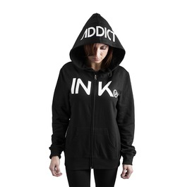Ink Women's Black/White Zip Hoodie