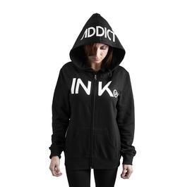 Ink Women's Black/White Zip Hoodie
