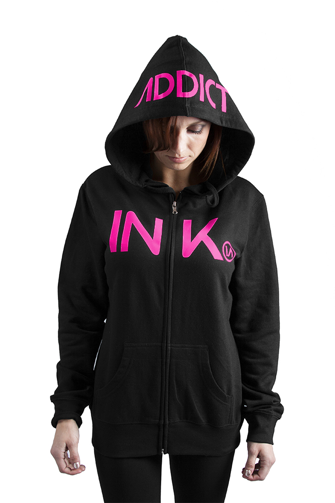 Ink Women's Black/Pink Zip Hoodie 6237